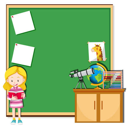 Girl reading in a classroom illustration
