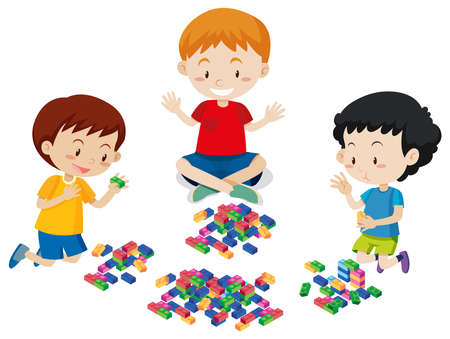 Boys Playing Lego on White Background illustration