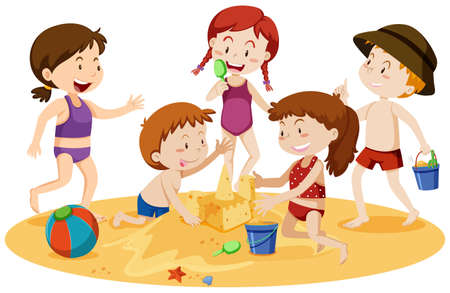 Kids Playing at the Beach illustration