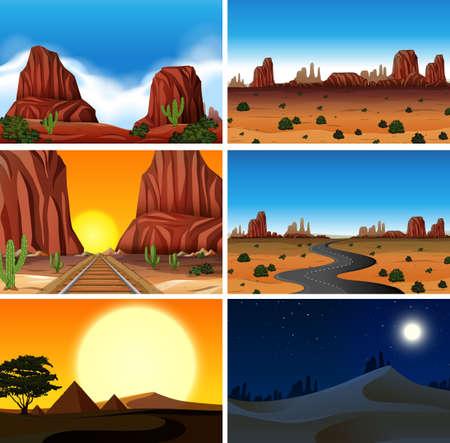 Set of diferent desert scenes illustration