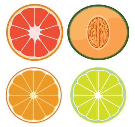 A Set of Sliced Fruits illustration Standard-Bild - 115065752