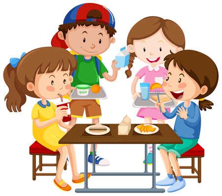 Group of children eating together illustration Vetores
