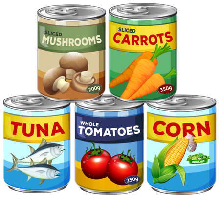 A Set of Can Food illustration