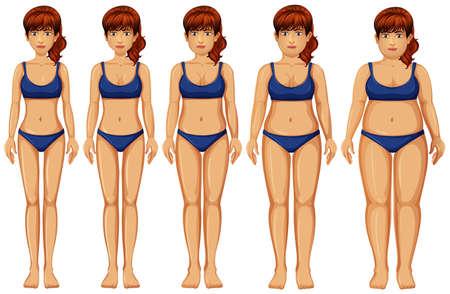 Woman Body Transformation on White Background illustration