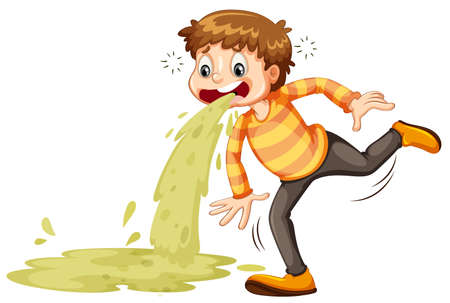 A sick boy vomiting illustration