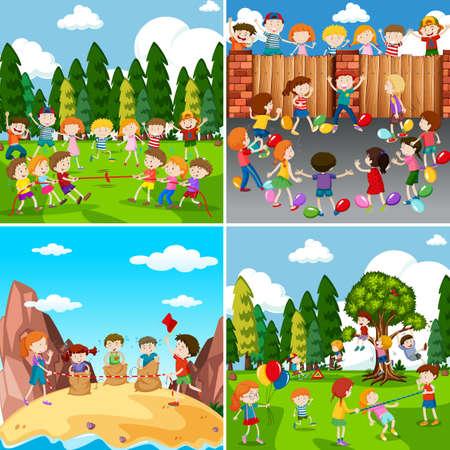 Set of children playing illustration Illustration