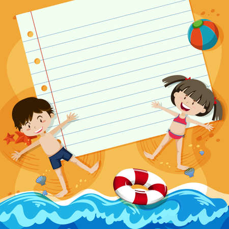 Paper Note and Children at Beach illustration