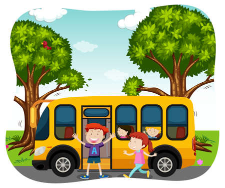 Students and School Bus illustration