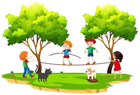 Children walking tightrope in the park illustration