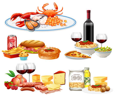 A Set of Diffrent Cuisine illustration Ilustração