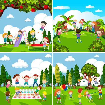 Set of scenes of children playing illustration