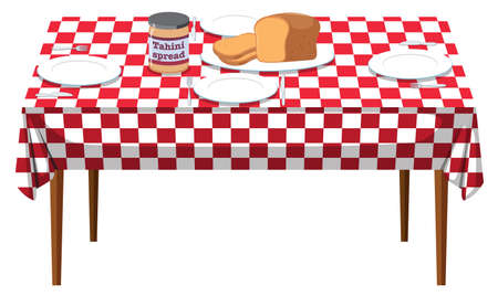 A Breakfast Table on White Background illustration