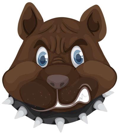 An Angry Pitbull Dog on White Background illustration Illustration