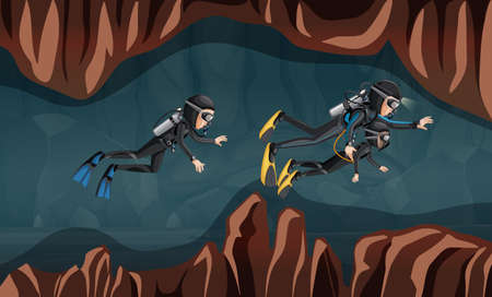 Divers guiding a young child through a cave. Vector illustration