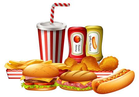 A set of unhealthy fast food illustration Stock Illustratie