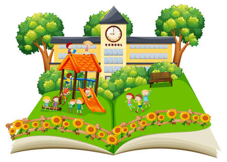 Scene of children playing in the schoolyard pop up book illustration