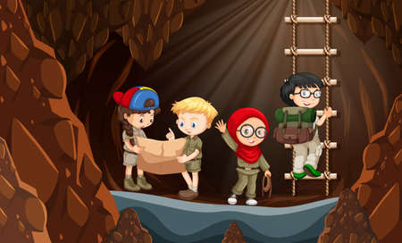 Scouts exploring the cave illustration