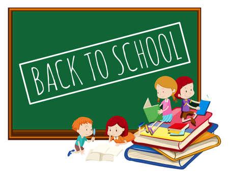Blackboard back to school template illustration