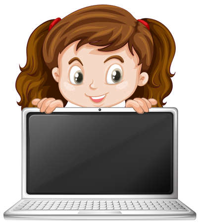 A girl and laptop illustration