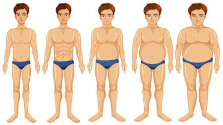 A man body transformation illustration