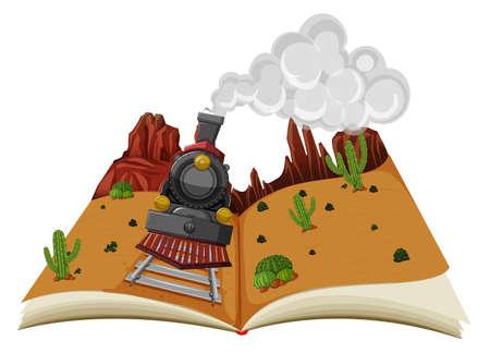 A Pop-up Book Desert Scene illustration 矢量图像