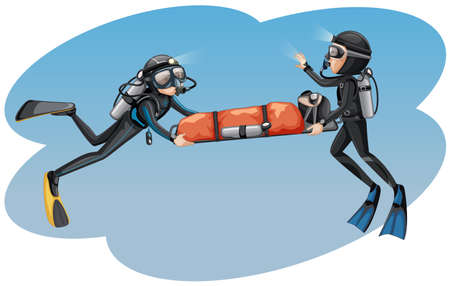 Divers carrying a person to safety illustration