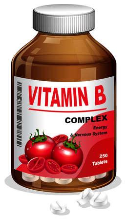A bottle of Vitamin B tablets. Vector illustration