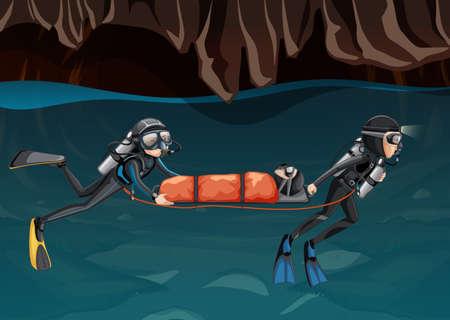 Scena di salvataggio nell'illustrazione della grotta sotterranea