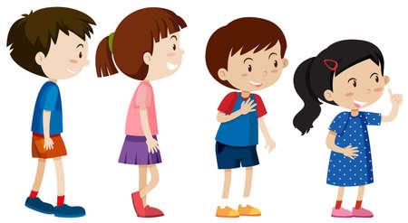 Un conjunto de niños se alinean ilustración. Ilustración de vector