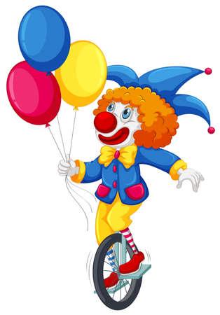 A clown riding a unicycle illustration Ilustração