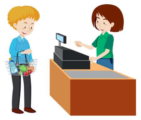 Mężczyzna płaci w kasie supermarketu. Ilustracja wektorowa