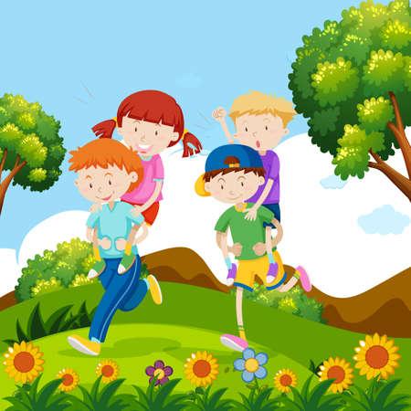 Children playing piggyback in nature illustration 向量圖像