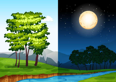 Set of daytime and nightime scenes illustration
