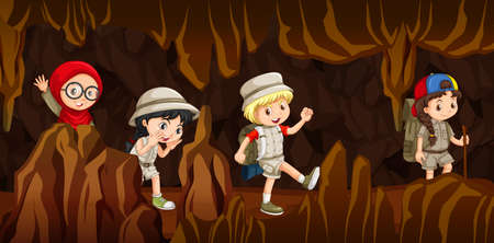 Young children exploring a cave. Vector illustration