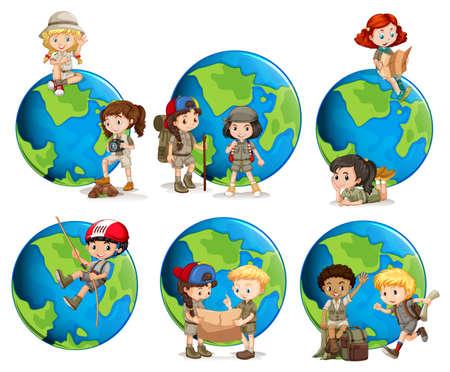 Set of children and globes illustration