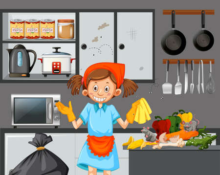 A maid cleaning dirty kitchen illustration