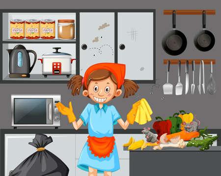 A maid cleaning dirty kitchen illustration Vektorové ilustrace