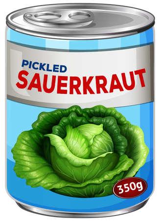 Can of pickled sauerkraut illustration