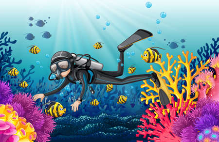 Scuba diver in a beautiful coral scene illustration Illustration