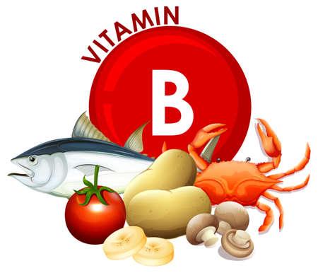 A Set of Vitamin B Food illustration