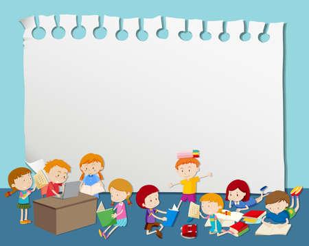 Leerer Rahmen mit Kindern, die Illustration lesen und studieren