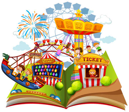 Fun carnival within pop up book illustration