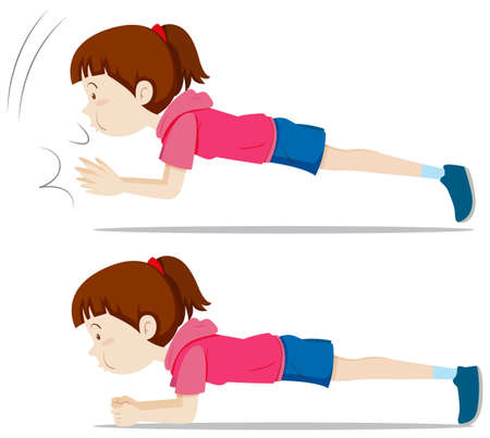 A girl plank exercise illustration