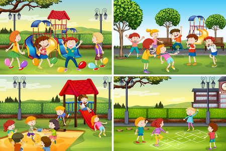 A set of children at playground illustration Stock Illustratie