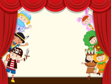 Los niños esconden la ilustración del rendimiento escolar de la cortina