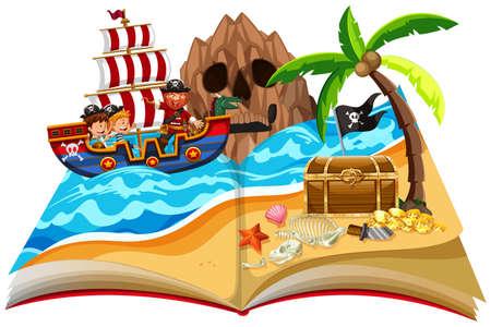 Een pop-up illustratie van het thema van de boekpiraat