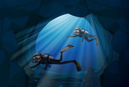 Diver diving in underwater cave illustration