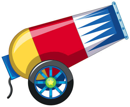A colorful cannon on white background illustration