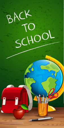 Back to school on blackboard illustration Illustration