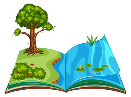Pop up book with outdoor nature scene illustration